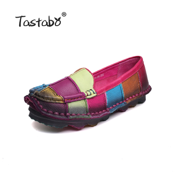 Tastabo Leather Autumn  Pregnant Women Shoes Female Moccasins Women Losers Casual Shoes Flats Plus Size Shoes Women