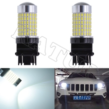 2pcs 3157 3156 Car Led Tail Back Up Reverse Turn Signal Lights T25 3014 144SMD LED Blubs Universal Tail Fog Lamps Replacement(China)