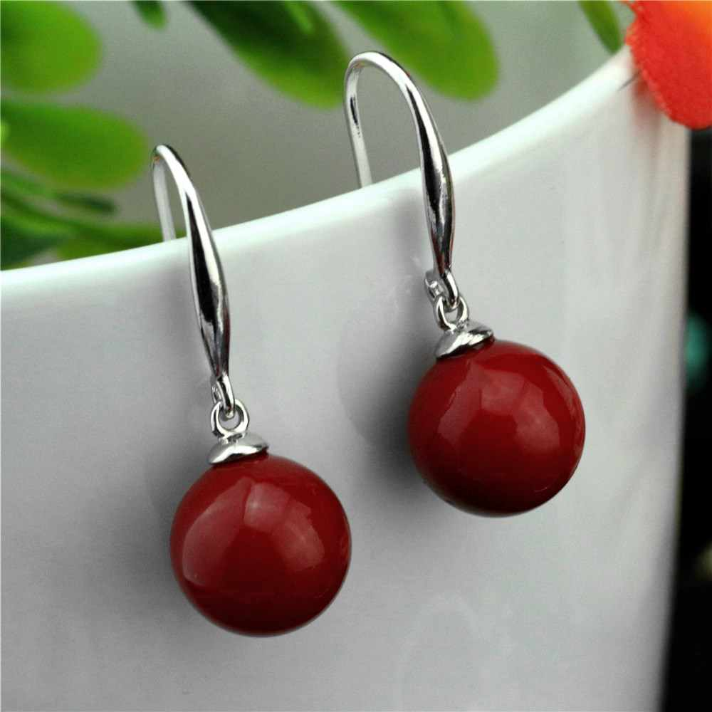 925 sterling silver woman earrings artificial coral silver earrings personalized charm female earrings
