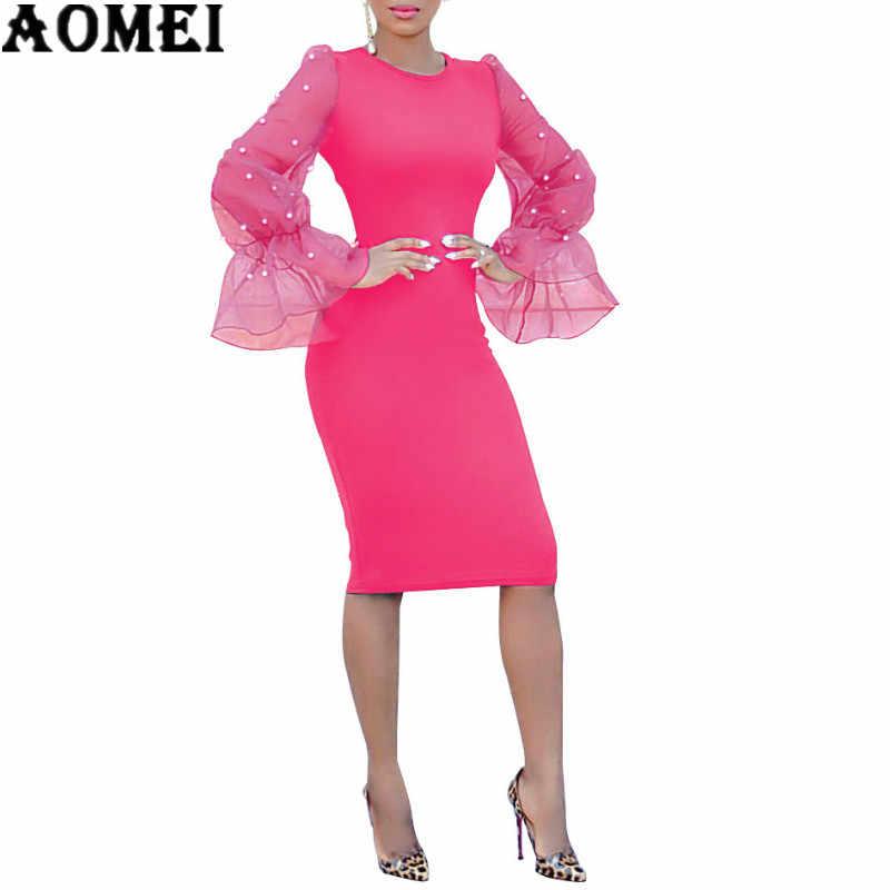 A3050 European and American women s hot explosions fashion slim Pearl  European yarn horn sleeve hip sexy ae6e3ce60db2