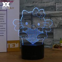 Creative Cartoon Cat 3D Lamp Wireless Bluetooth Speakers Base Support TF Card LED Decorative Table Lamp