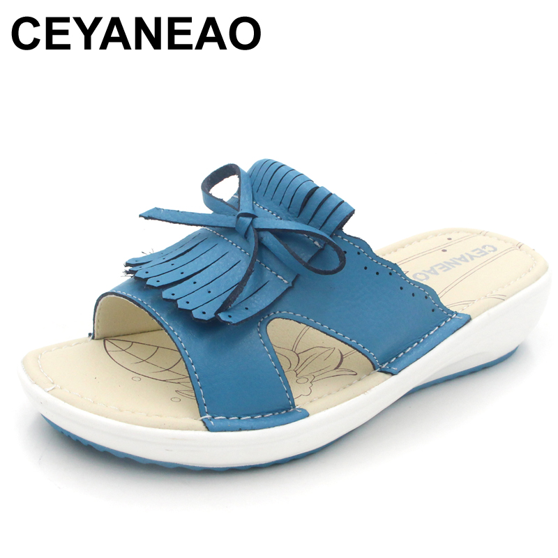 CEYANEAO 2018 Summer women flat sandals Shoes white leather ballet slippers round toe fringe slides sandals female flip flops