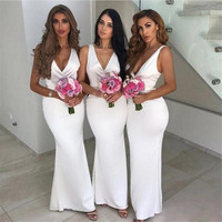 Robe demoiselle d'honneur Mermaid Long Bridemaid Dresses 2019 Sexy V Neck Prom Dresses Party Gowns Wedding Party Dresses