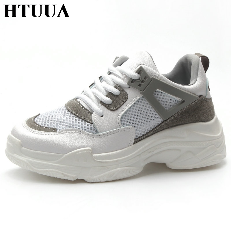267abacc3 HTUUA Size 35-40 Cozy Breathable Mesh White Sneakers Women Shoes Ladies  Casual Creepers Platform
