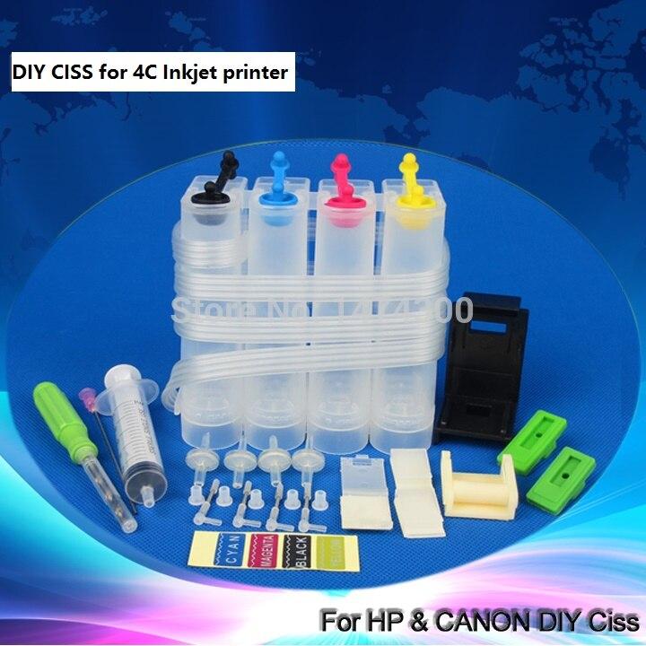 4C universale CISS per Canon, DIY CISS per HP con trapano e strumento di Aspirazione e tutti gli accessori