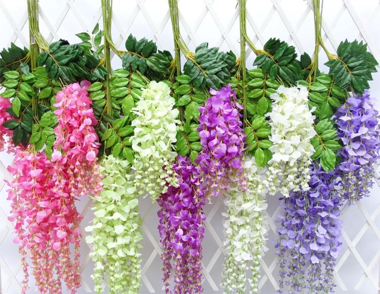 藤造花ウェディングパーティー祭りの装飾花ガーデンぶら下げ植物つる110センチ12ピース/ロット