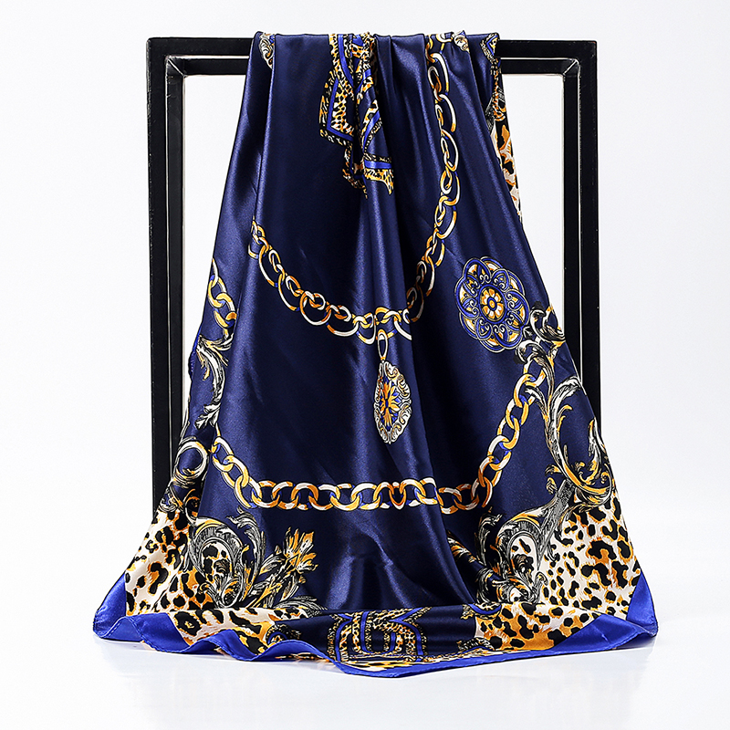 O CHUANG Fashion Women Silk Scarf  90*90cm Luxury Brand Foulard Satin Scarfs Big Size Hair Square Scarves For Ladies Headband