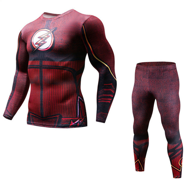 New Men's Long Sleeve Pants Fitness Compression Spider Set Flash T-Shirt 3D Print MMA Crossfit Muscle Shirt Leggings Tights Set