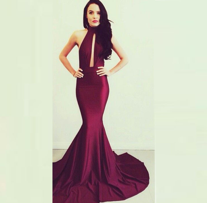 25292074783 Online Shop New Fashion Cheap Emmy Awards Sexy Backless Halter Prom Dress  Mermaid Sweep Red carpet Dark Purple Celebrity Dress