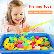 Lovely To 58st Magnetic Fishing Leksaker Fish Magnet Spel Med Rod And Net Educational Toy För Barn