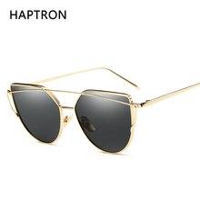 Фотография 2017 hot sales star Mirror glasses Cat Eye Sunglasses Women Brand Designer Fashion Twin-Beams Rose Gold sun glasses