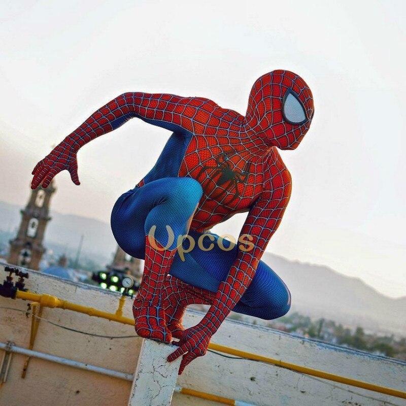 Человек-паук raimi косплей костюм 3D Печатный Детский/взрослый лайкра спандекс Человек-паук костюм для Хэллоуина Косплей зентай костюм