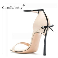 2018 New Summer Carollabelly High Quality Sexy Women Sandals Pointed Toe shoes Bowtie Thin High Heels Party Shoes Big Sizes 41