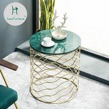Луи Мода диван столы Северная Европейская мраморная сторона гостиная угловой балкон маленький чай