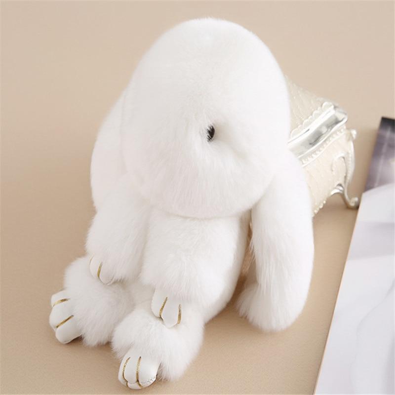 Fur Accessories Rex Rabbit Fur Keychain Bag Car Charm PomPoms 17 18CM Rabbit Pendent Little