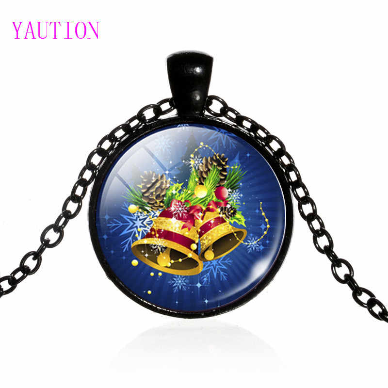 3/Color 2017 New Arrival Christmas Jewelry Jingle Bell Pocket Watch Necklace Glass Art Print Pendant Gifts for Boys Girls
