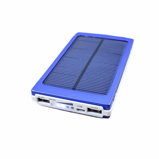 2016 nuevo banco de la energía solar 10000 mah cargador portátil solar de batería de reserva externa usb dual para iphone htc huawei
