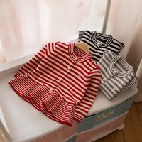2018 New Spring Autumn Girls Striped Pleated Knitted Sweater Baby Kids Cotton Cardigan Little Girls Soft Knitwear Dresses A791