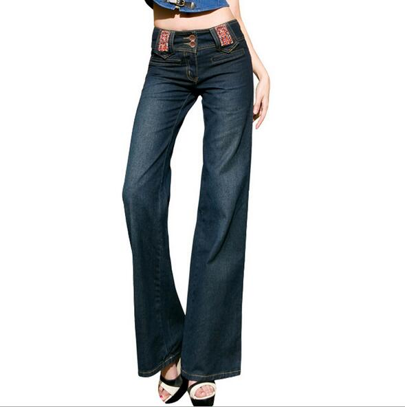 Spring Autumn national wind Slim Fit high Waist Flare Jeans Plus Size wide leg Jeans Bell
