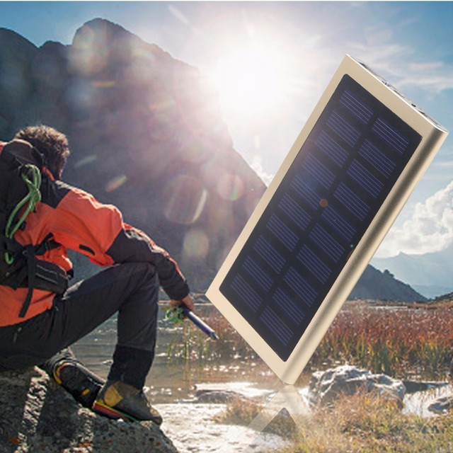 Solar Power Bank Daul USB 12000mAh External Battery Portable Charger Bateria Externa Pack LED Screen and Flashlight Solar Panel