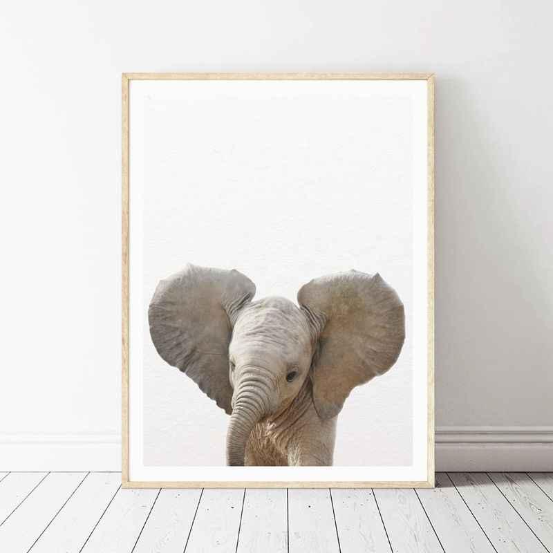 Лев Зебра слон жираф детские животные художественный Принт плакат, сафари животные картина холст картина Детская комната Украшение стен в детской комнате