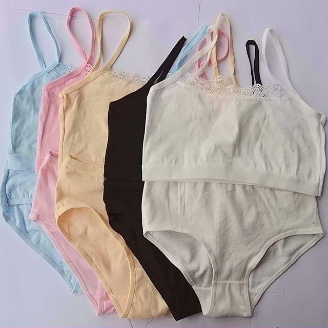 f4a2bb5cc Sutiã de algodão Sutiã de Renda Definido para GirlsChildren para  Adolescentes Adolescente Lingerie Conjunto de Sutiã