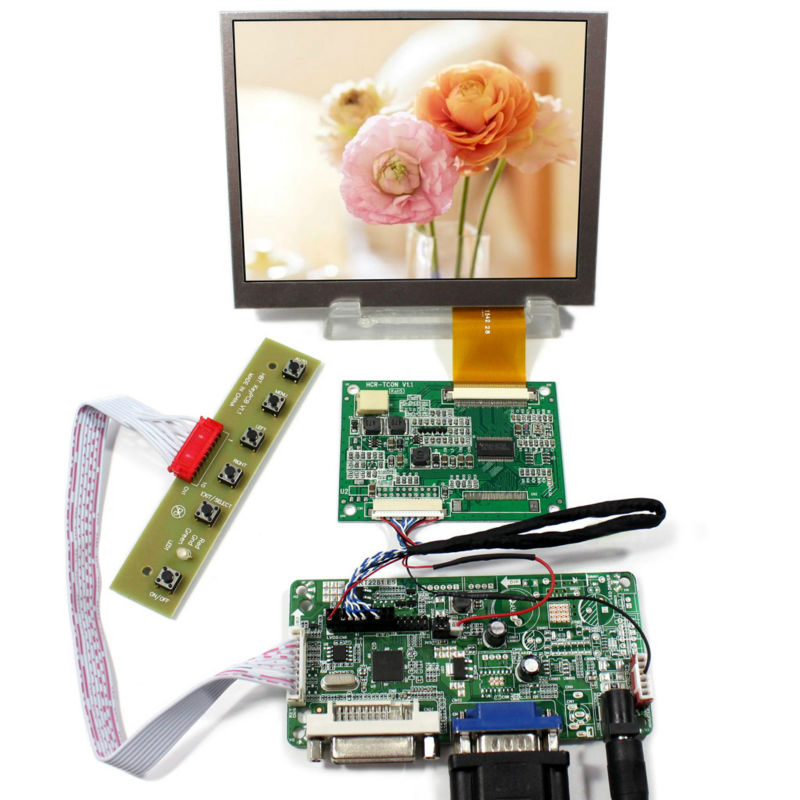 DVI VGA lcd controller board RT2281 with 5.6inch AT056TN52 V3 640x480 Lcd PanelDVI VGA lcd controller board RT2281 with 5.6inch AT056TN52 V3 640x480 Lcd Panel