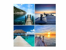 4 Panel HD Modern Prints Beach Seascape Painting Sea Boat Sunset Wall Picture For Living Room Framed