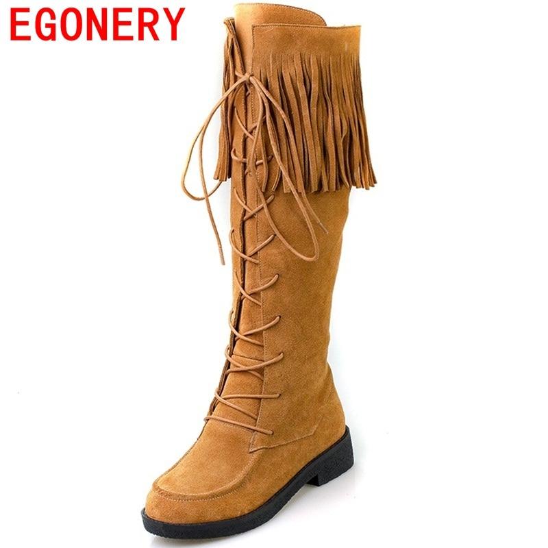 ФОТО EGONERY shoes 2017 australia boots women's winter snow boots knee high zip boots popular tassels genuine leather boots women