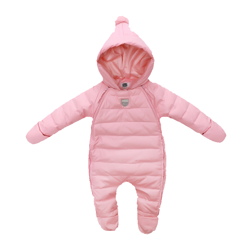ФОТО Hot Sale! Baby Rompers Newborn Baby Girl Thermal Duck Down Winter Snowsuit Baby Cute Hooded Jumpsuit Newborn Baby Boy Clothes