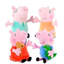 лучшая цена Peppa Pig George Family Stuffed Plush Toys pink Pig Family Party Dolls For Girls Gifts Animal Plush Toys 4Pcs/set