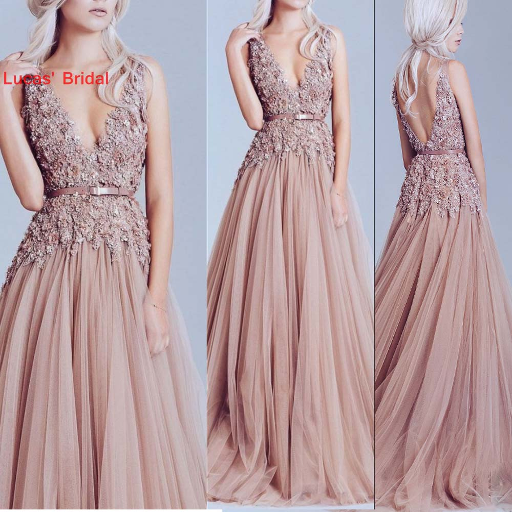 Sexy Long   Evening     Dresses   Prom Gown Tulle Handmade Flowers Backless New Formal Party Gowns Vestido De Festa