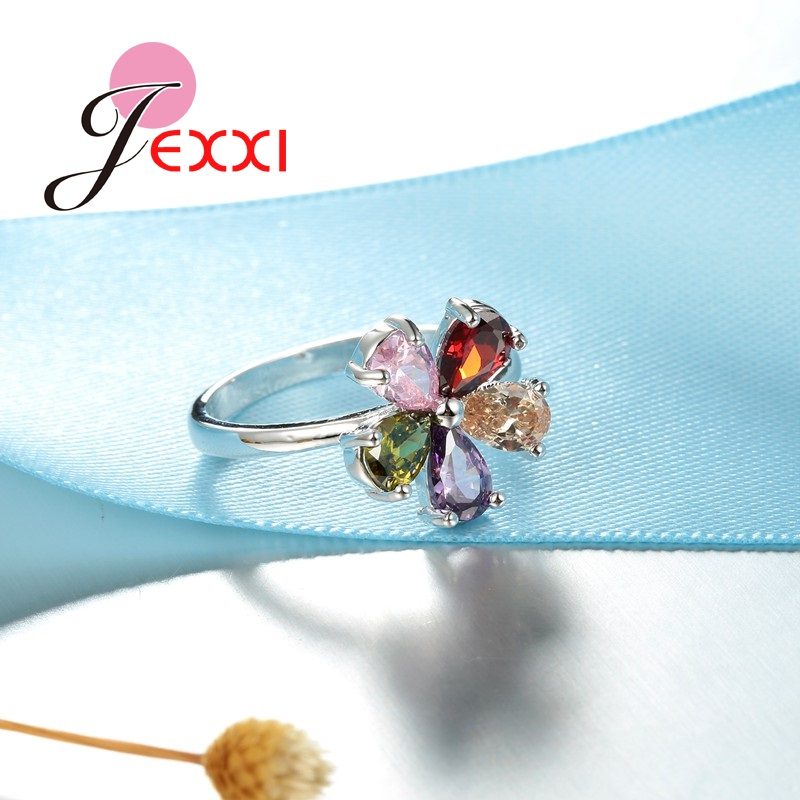 Beautiful Flower Shape Colorful Crystal 925 Sterling Silver Women Wedding Engagement Rings Fashion Party Finger Jewelry 3