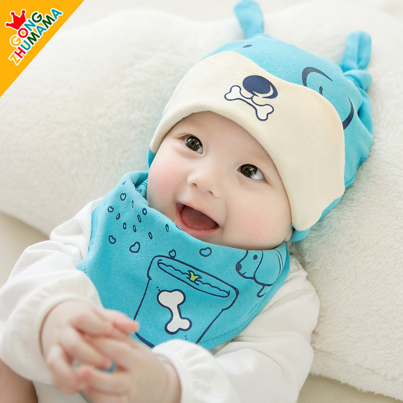 2pcs/ set 2018 cute baby beanie hat bib set infant boys girls knot hat baby bib soft cotton boys girls sun caps 0-8M
