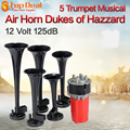 New Arrival 5Pcs 125DB Black Trumpet Musical Dixie Car Duke of Hazzard + Compressor 12V Car Air Horn