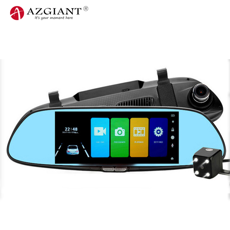 все цены на AZGIANT 7.0 Inch Touch IPS Screen Display Dual Lens with Rear View Mirror Dash Camera With 4 Led Lamp For Night Vision онлайн