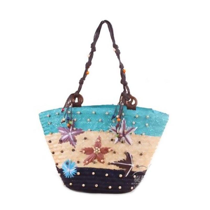 2016 new summer straw bag beach straw bags woven beach bag Starfish women for the beach shoulder tote starfish handmade handbags new 100% handmade woven leather handbags tote women shoulder bags with detachable zipper pouch