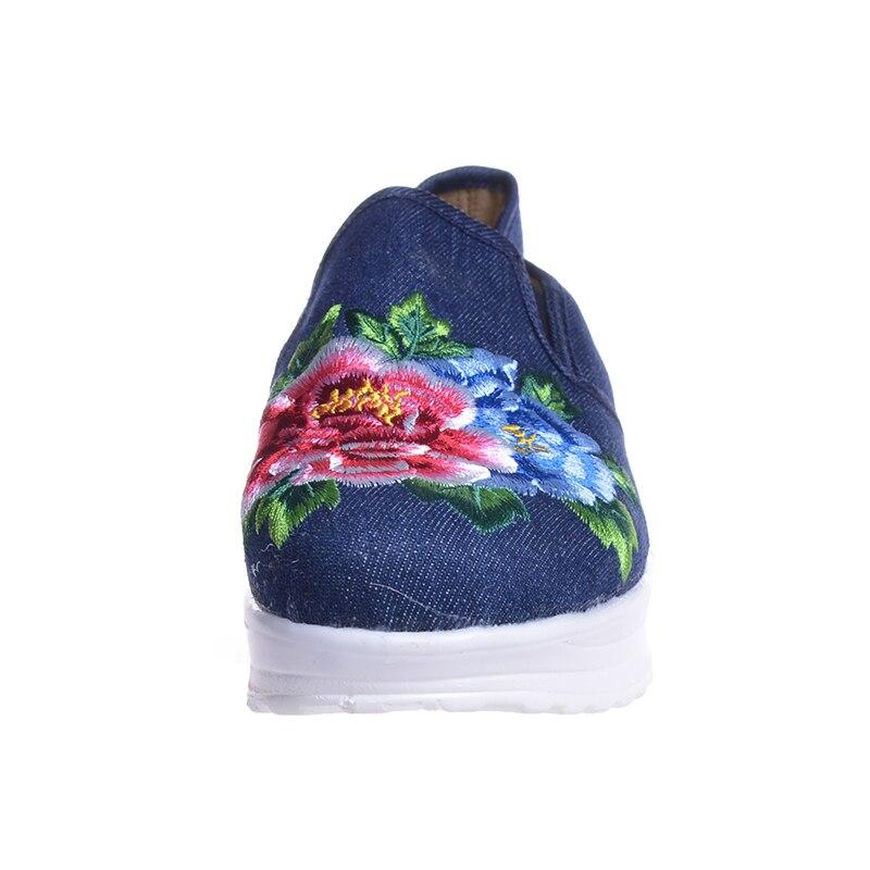 Tissu Blue La National Appartements Hee 2017 Swing De on Chaussures Style Blue light Chanvre Red Toile Slip En Grand À Broderie Xwd5132 Main Femmes Fleur dark xCg6U
