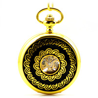 Antique Golden Skeleton Mechanical Hand Wind Pocket Fob Watches Clamshell Business Men's Poket Watch Pendant Necklace Carved