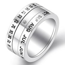 Ajojewel Size 6.5-12.5 Classic Stainless Steel Party Rotatable Time Letter Rings For Men  High Quality Metal