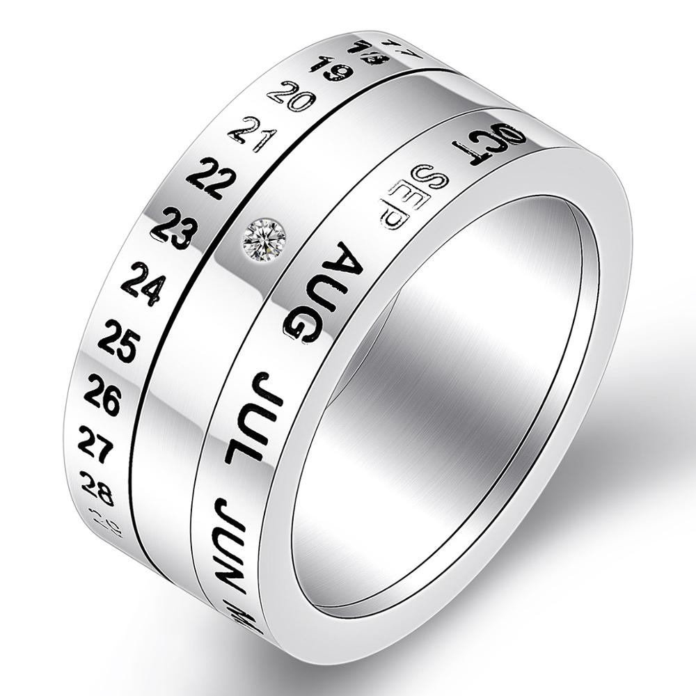 Ajojewel Size 6.5-12.5 Classic Stainless Steel Party Rotatable Time Letter Rings For Men High Quality Metal Rings image