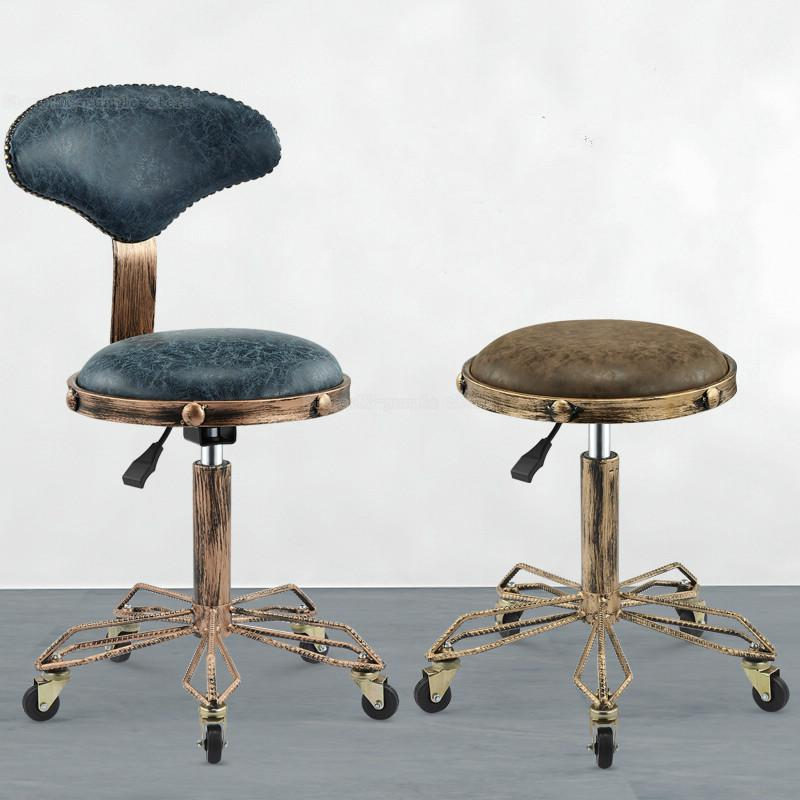 Height Adjustable Nail Embroidery Chairs With High Elastic Sponge Retro Bronze Barber Chair Rotate Lift Beauty Stools Best Price Black Friday 2019