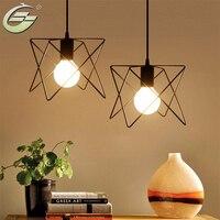 European Wrought Iron Lamp LED Creative Bedroom Single Head Warped Geometry Pendant Lighting Fixtures 257 N17