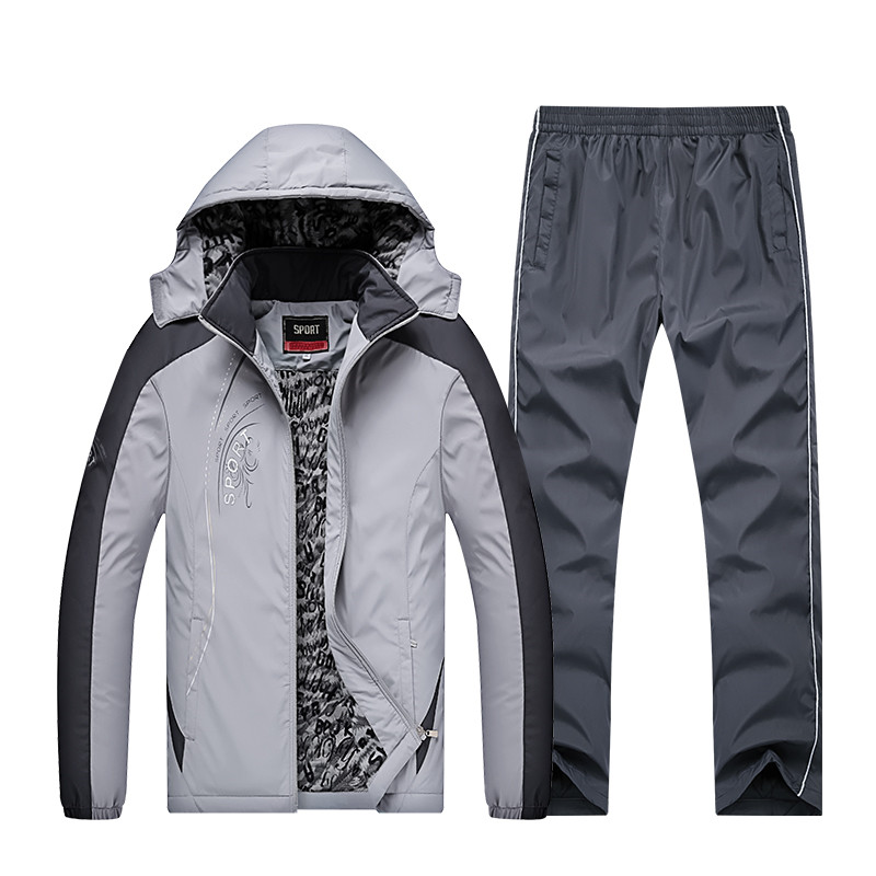 New Men's Winter Sportwear Outwear Leisure 2 Pieces Suits Jacket+Pants Men Thickening Warm Protective Male Sets Hooded Tracksuit