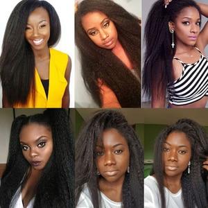 Image 5 - Peruca cabelo sintético, peruca natural longa cacheada afro puff yaki sem cola cabelo sintético para mulheres