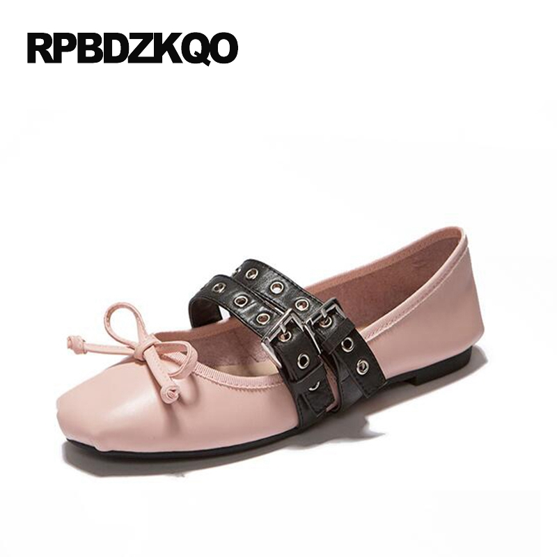 Knot Round Toe Bowtie 2017 Latest Metal Slip On Ladies Women Fashion Flats Pink Bow Soft Ballet Genuine Leather Spring Autumn women ladies flats vintage pu leather loafers pointed toe silver metal design