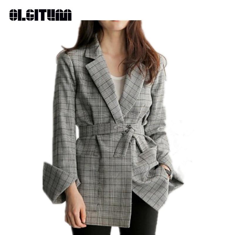 New OLGITUM Hot Sale Office Lady Women Gray Plaid Blazer Bow Sashes Split Sleeve Jackets Elegant Work Blazers Feminino BL032
