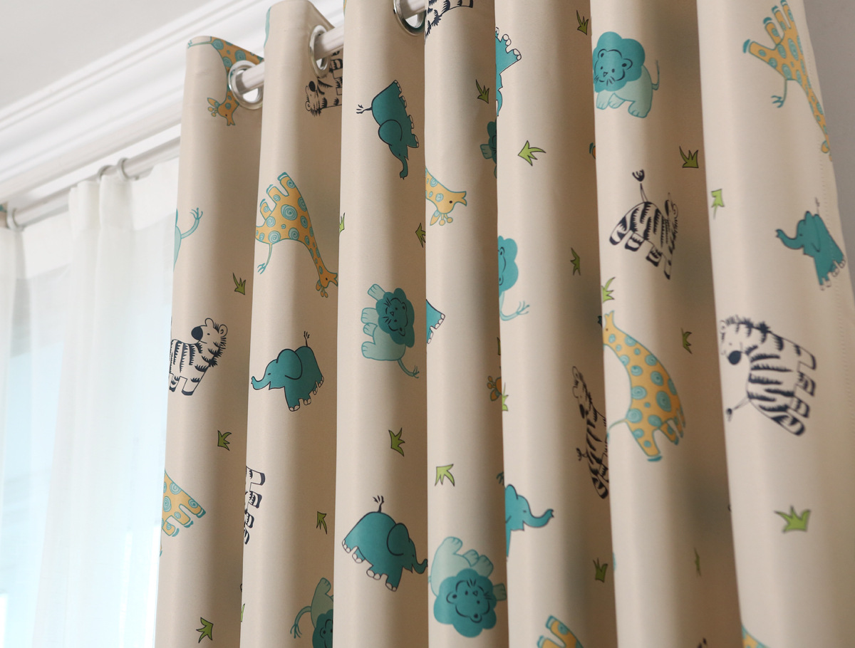 Korean Cute Animal Paradise Curtains For Living Dining Room Bedroom Shading Curtain Cloth Childrens