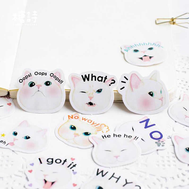 45pc śliczne naklejki Kawaii gruby biały kot telefon Album Bullet naklejki do dziennika dekoracyjne naklejki do scrapbookingu koreańskie piśmiennicze
