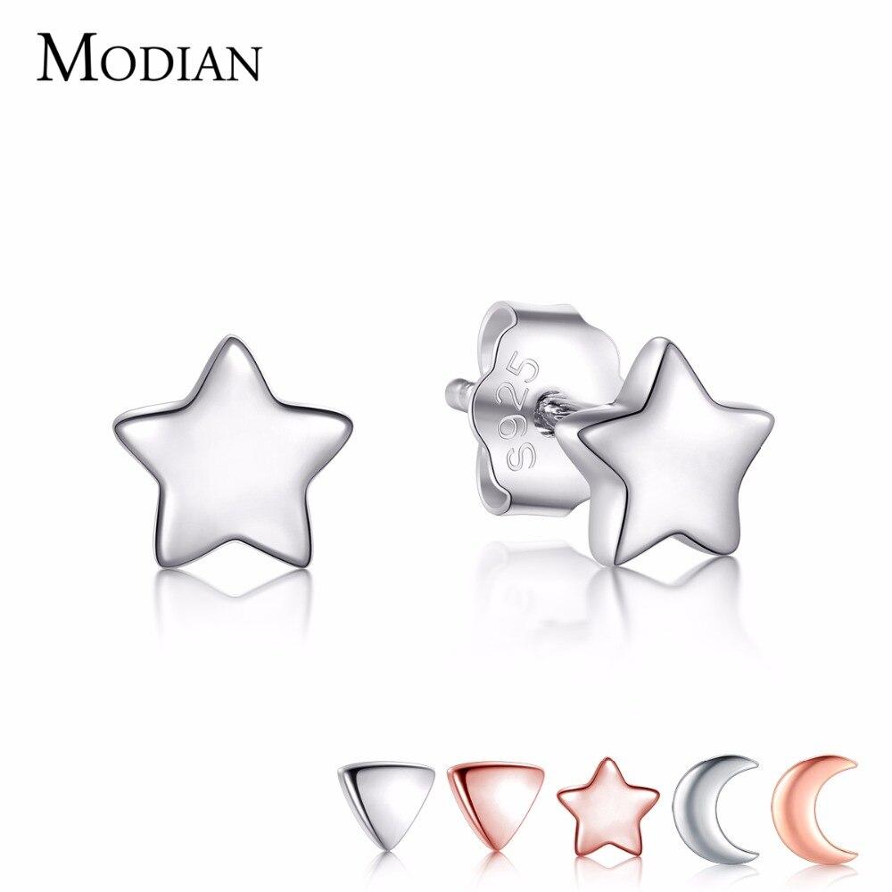 Modian nouveau 6 Style réel 925 étoiles en argent Sterling lune exquise mode Simple boucles d'oreilles pour femmes Triangle bijoux Brincos